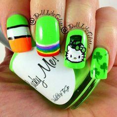 for st. How To Do Nails, Fun Nails, Polish Holidays, St Patricks Day Nails, Cute Nail Polish, Hello Kitty Nails, City Nails, Holiday Nail Art, Nails Inspiration