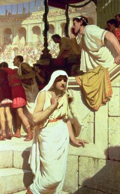 The Gladiator's Wife, by Edmund Blair Leighton - worry fear anxiety. She cannot watch what is happening behind her as others are rapt with excitement.
