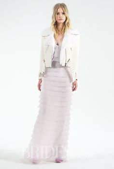 Motorcycle Jacket and Layered Pink Organza Separates Houghton Wedding Dress - Fall 2015 Collection - Lambskin Motorcycle Jacket with Rabbit Fur Collar with Layered Laser-Cut Petal Pink Silk Organza Camisole Top and Long Skirt