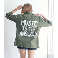 Music Is The Answer Vintage Army Jacket ($99) ❤ liked on Polyvore featuring outerwear, jackets, vintage military jacket, army jacket, field jacket, patch jacket and vintage jacket