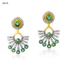 Emerald Fine Diamond Designer Ear Jacket Jewelry