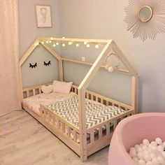 Lit Cabane K Monlitcabane - toddler room ideas Diy Toddler Bed, Toddler House Bed, Toddler Rooms, Toddler Floor Bed, Floor Beds For Toddlers, Twin Size Toddler Bed, House Beds For Kids, Baby Bedroom, Baby Room Decor