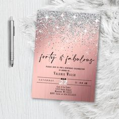 Rose Gold Graduation Invitation, 2020 Graduate Invitation Printed or Printable Option Invitation, Sparkling Pink and Silver Glitter Confetti Class 2020 Invitation Baptism Invitations Girl, Graduation Party Invitations, Gold Invitations, Printable Invitations, Baby Shower Invitations, Graduation Ideas, Winter Wonderland Birthday, Gold Birthday, Happy Birthday