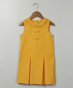 Yellow Bow Pleated Corduroy Dress - Kids & Tween