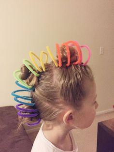 30 Crazy Hair Day Ideas for Girls 30 Crazy H - Hair Styles For School Crazy Hair Day Girls, Crazy Hair For Kids, Crazy Hair Day At School, Days For Girls, Crazy Hair Days, Kids Girls, School Stuff, Crazy Girls, Cute Haircuts