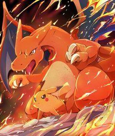 Pikachu y charizard All Pokemon, Pokemon Games, Pokemon Fan, Pokemon Stuff, Charmander Charmeleon Charizard, Pikachu, Japanese Games, Pokemon Trading Card, Digimon