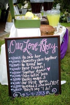 diy wedding decor love story chalkboard
