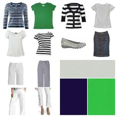Spring - white, navy, grey and green