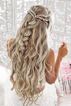 Wedding Hairstyles For Long Hair, Braids For Long Hair, Wedding Hair And Makeup, Bride Hairstyles, Hairstyle Ideas, Bridesmaid Hairstyles, Cute Prom Hairstyles, Beautiful Hairstyles, Elegant Hairstyles