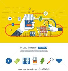 Internet and mobile marketing concept. Social network. Online shopping. Mobile marketing vector. Marketing strategy. Shopping basket. Investment business. Color line icons