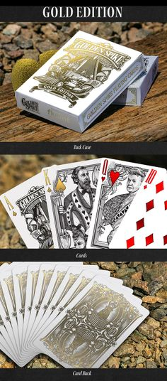 """Golden Spike Playing Cards-Launching on June 30th, 2014 on Kickstarter.com. Deck #2 """"Gold Edition"""" Golden Spike Tuck and cards"""