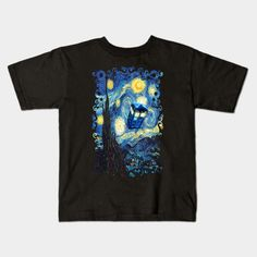 Blue Phone booth starry the night Kids T-shirt #teepublic #tee #tshirt #clothing #kid #kidtshirt #tardis #doctorwho #starrynight #vangogh #screamingman #flying #phonebooth