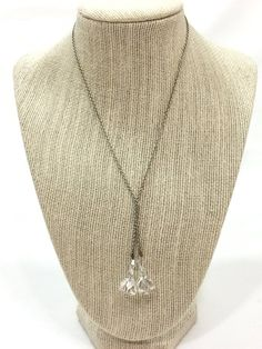 Silver Crystal Lariat Necklace, Clear Crystal Briolettes, Short Silvertone Chain, 1930s, Vintage Art Deco Wedding Jewelry, Bridal Necklace, Lariat Necklace, Arrow Necklace, Faceted Crystal, Clear Crystal, Art Deco Wedding, Large Crystals, Art Deco Jewelry, Silver Necklaces