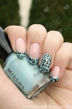 Leopard Print French Tips by i love nail polish. I like the ring finger more than the French tip with this design Fancy Nails, Love Nails, How To Do Nails, Pretty Nails, Nail Polish Designs, Cute Nail Designs, Manicure Y Pedicure, Gel Nails, White Manicure