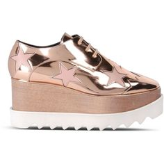 Stella Mccartney Copper Elyse Star Shoes (2.475 BRL) ❤ liked on Polyvore featuring shoes, oxford wedge shoes, rubber sole wedge shoes, stella mccartney, chunky wedge shoes and wooden platform shoes