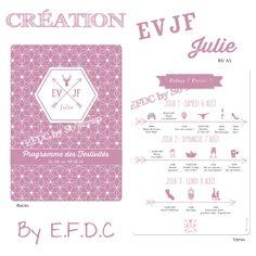 Programme des festivités avec pictogrammes week end EVJF (enterrement vie de jeune fille), recto verso A5, girly, thème scandinave épuré, tête de cerf