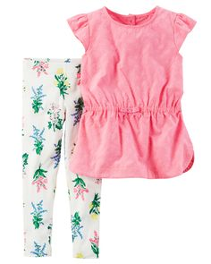 Baby Girl 2-Piece Flutter Sleeve Top & Floral Legging Set from Carters.com. Shop clothing & accessories from a trusted name in kids, toddlers, and baby clothes.