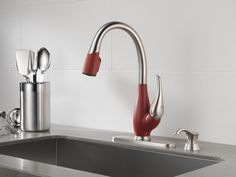 Delta Chili Pepper red kitchen faucet (deltafaucet.ca)  #DeltaFaucetInspired