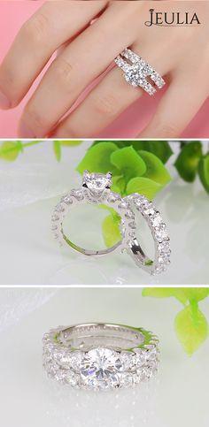 Wedding Must-Haves:Trendy Wedding Ring. Jeulia Round Cut Created White Sapphire Wedding Set. #JeuliaJewelry