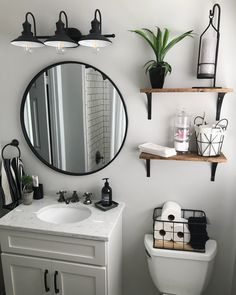 There's nothing like a black stainless steel finish for an chic and edgy vibe. Upstairs Bathrooms, Downstairs Bathroom, Bathroom Renos, Rustic Bathrooms, Bathroom Fixtures, Bathroom Inspiration, Bathroom Inspo, Bathroom Interior Design, Home Remodeling