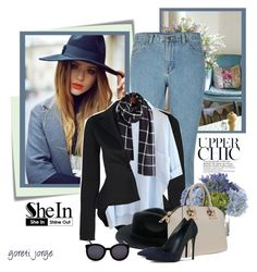 """""""Denim chic style"""" by goreti ❤ liked on Polyvore featuring Post-It, Jenny Packham, Lux-Art Silks, Karen Walker and shein"""