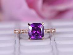Cushion Amethyst Engagement Ring Pave Diamond Wedding 14k Rose Gold 8mm