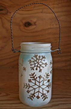 Mason Jar Lantern, Snowflakes Christmas and Winter Decoration, Outdoor Winter Wedding Decoration, Canning Jar Lighting. $20.00, via Etsy.