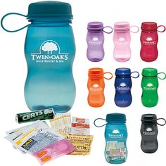 Packaged in the trendy Polyclear Bottle - 18 oz. sport bottle  Contains popular branded components  Latex-free bandages    Materials: Bottle: Acrylostyrene Contents: vary    Product Includes: Includes 9 pieces: 1 Airborne(R) packet, 1 Certs(R) breath mint roll, 2 Pepto-Bismol(R) tablets, 1 Advil(R) packet,1 antibiotic ointment packet, 2 bandages, 2 moist towelettes.    For more information please contact GWN at info@gwnpromo.com.