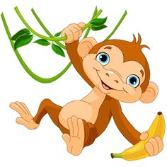 free clip art of a cute happy brown monkey holding a banana sweet rh pinterest com monkey clipart pictures monkey clipart free