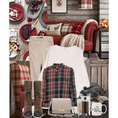 Plaid and beige - Cosy cabine outfit