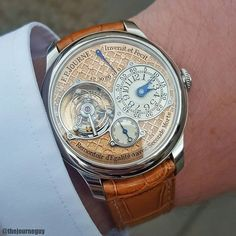 Spotted 1 of 10 Regency TN's made on one of the greatest men I know! That dial is absolutely exquisite in its details and has a cleaner more vibrant look than the original engraved dials from 2001. Done by a completely different engraver  #fpjourne