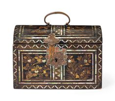 A Lacquer Casket Commissioned by the Portuguese | MOMOYAMA PERIOD (LATE 16TH CENTURY) | flowers & plants, All other categories of objects | Christie's Japanese Design, Japanese Art, Creative Box, Coffer, Antique Boxes, Dark Interiors, Christian Church, Museum Collection, Casket