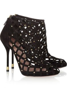 Gucci Black Studded High Heeled Cage Sandals #Shoes #Heels