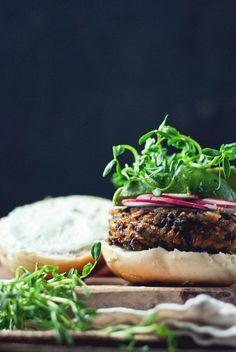 black rice & mushroom burgers w/ cucumber garlic yoghurt
