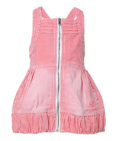 18 months  Take a look at this Red Stripe Zipper Dress - Infant, Toddler & Girls by Cakewalk on #zulily today!