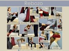 This poster visually details various techniques and methods using the Rebozo to help during labor.