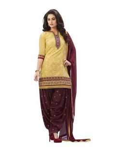 Yellow & Maroon Color Chanderi Jacquard Embroidery Un Stitched Dress Material Patiyala by B. Rani Patiala Salwar Suit on Shimply.com