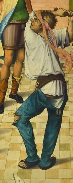 Flagellation of Christ, c 1480, detail.  This appears to show joined hosen suspended from a shaped belt, rather than a doublet.