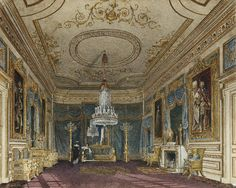 The Ante Chamber to the Throne Room, Carlton House, Charles Wild, 1816 Palaces, Stucco Ceiling, Carlton House, Staircase Handrail, Palace Interior, Throne Room, Royal Residence, Interior Rendering, Interior Design