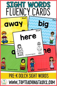 Pre-K Sight Word Flash Cards Dolch. This resource is a set of 40 Flash Cards bas. Pre Primer Sight Words, Fry Sight Words, Dolch Sight Words, Daily 5 Activities, Sight Word Activities, Phonics Activities, Pre-k Resources, Sight Word Flashcards, Word Work