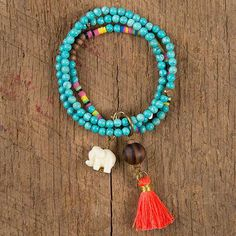 Turquoise Bead Lucky Elephant Bracelet - This bracelet is sure to become a…