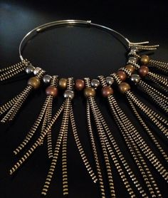 Gold Zipper Graded Bib Statement Necklace With Metal by Rakhmat