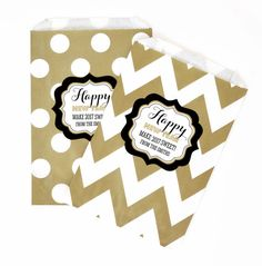 "New Years Eve Party Chevron & Dots Personalized Goodie Bags (set of 12). Start off the year with a bang with these spectacular goodie bags as a giveaway to your guests! These New Years Eve Goodie Bags are just the right amount of razzle and dazzle to impress your guests. Whether you're filling them with tasty candies or sparkly trinkets, these goodie bags will surely impress everyone! You can lay them out at a candy buffet table for a decorative ""pack your own"" goodie bag! Due to the…"