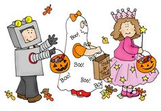 Free Dearie Dolls Digi Stamps: Trick or Treaters on the move....