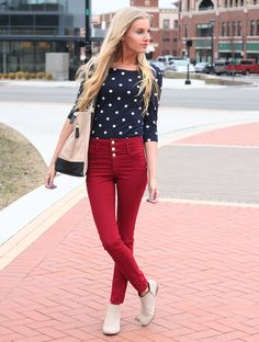 Cute!!! The lovely @allyssagriffiths adding a pop of color to her #OOTD with Charlotte Russe high waisted denim!