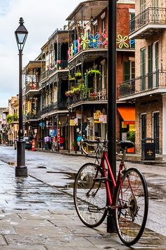 A damp street in the New Orleans French Quarter, Louisiana
