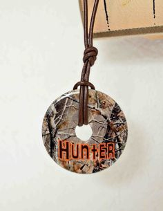 Personalized Camo Washer Necklace with Brown by sweettalkshop, $10.00