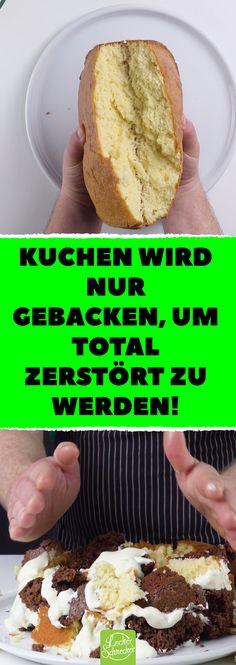 Kuchen wird nur gebacken, um total zerstört zu werden! Ist nicht wie andere Kuchen- & Torten-Rezepte: Kuchenberg mitCrème fraîche und nussiger Schokohaube. #Rezepte #Kuchen #backen #Kuchenberg #Torte #Crème fraîche