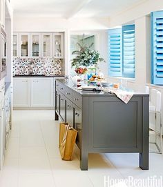 fabric backsplash - kitchen of the month from house beautiful 2014