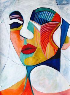 "Woman - Just an Illusion - Cubism"" by Lee Wilde. Bluethumb - Online Art Gallery""Abstract Woman - Just an Illusion - Cubism"" by Lee Wilde. Abstract Face Art, Abstract Drawings, Art Drawings, Contrast Art, Art Minimaliste, Cubist Art, Arte Sketchbook, Art En Ligne, Arte Pop"